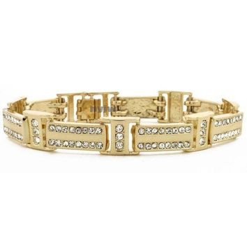 ESBONRC ICED OUT 14K GOLD PLATED 2PAC MICRO PAVE CUBIC ZIRCONIA 8.5' BRACELET KB011G