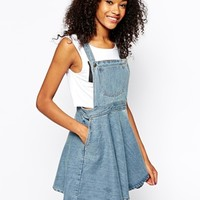 Monki Denim Pinafore Dress