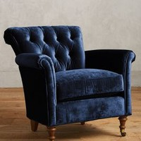 Slub Velvet Gwinnette Chair by Anthropologie