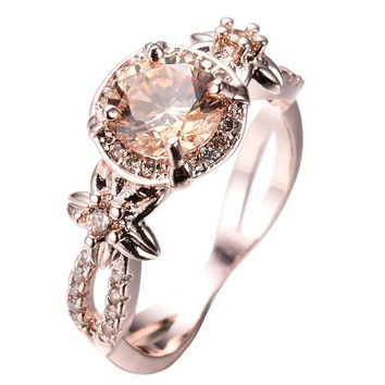 Womwn's Filled Round Champagne Topaz Wedding Ring
