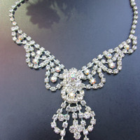 Clear and AB Rhinestone Bib Necklace, Bride / Pageant / Wedding / Formal, Vintage