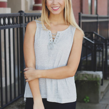 When in Rome Top - Heather Grey