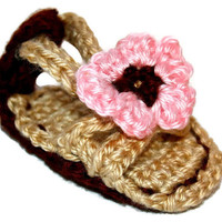 Crochet Size US 1 Baby Girl Tan & Pink Flower Sandals Shower Gift Booties Summer Spring Shoes Photo Photography Prop IN STOCK Ready to Ship