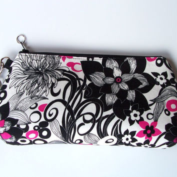 Summer White Black Whimsical Floral Clutch/Wristlet/Purse/Pouch/Bag/Wallet/Phone Holder
