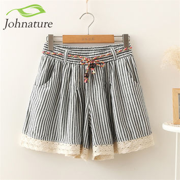 Johnature Mori 2016 Summer New Female Striped Straight Low-Waist Lace Girls Shorts