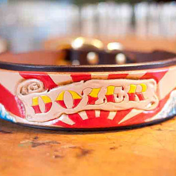 Personalized Leather Dog Collar - Sun Rays and Japanese Waves - Custom Dog Collar - Handmade Leather Dog Collar - Tooled Leather - Carved