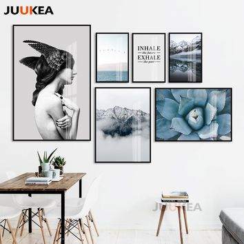 Posters And Prints Wall Art Canvas Painting Wall Pictures For Living Room Nordic Succulents Girl Scenery Decoration Pictures