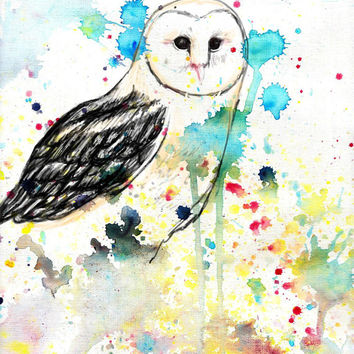 Barn owl, digital art print, A3 poster, watercolor, watercolour illustration, colorful, drawing animals, painting nature
