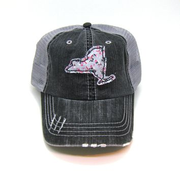 New York Trucker Hat - Distressed - Floral Fabric State Cutout