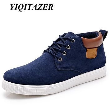 YIQITAZER New Arrival Winter Casual Shoes Mens Fur Boots Flock,Lace up Nature Wool Men Boot Hemp Shoes Men Black Blue Gray