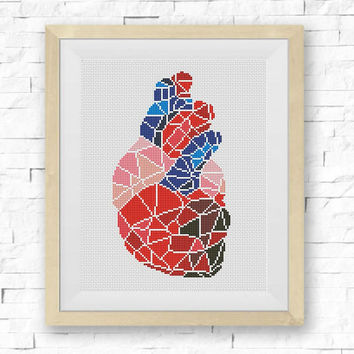 BOGO FREE! Geometric Heart Cross Stitch Pattern, Human Heart Cross Stitch Human Anatomy Modern Decor Embroidery PDF Instant Download S099