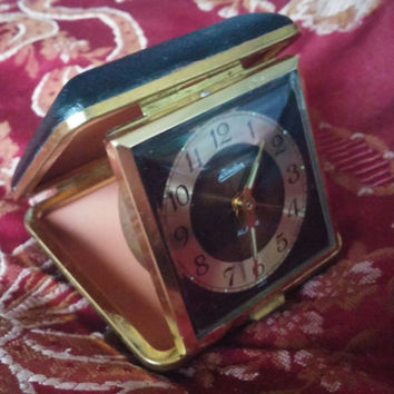 Linden Travel Alarm Clock With Leather Black Case and Luminous Dial  - Not Working Needs Repair - Great Physical Condition