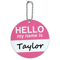 Taylor Hello My Name Is Round ID Card Luggage Tag