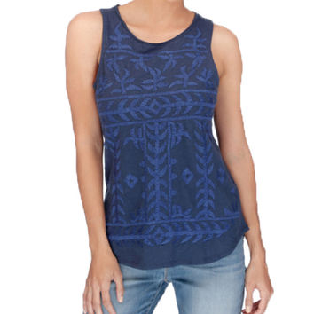Lucky Brand Dress Blues Embroidered Tank