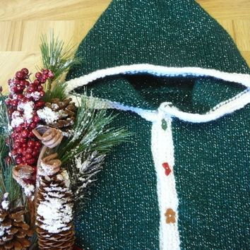 Baby Sweater - Christmas Time Is Here Sparkly Green Cardigan - Size 12 Months