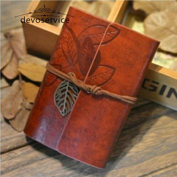 Free shipping Soft Cover Vintage Leaf Leather Journal Notebook Kraft Diary Planner Notepad Kids Gifts Stationery School Supplies