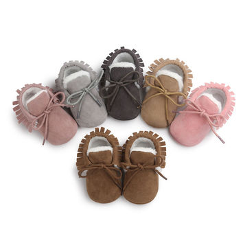 New ROMIRUS Fashion Winter Keep Warm PU Suede Solid fur Newborn Baby First Walkers Shoes Boots Infant Moccasins Soft Moccs Shoe