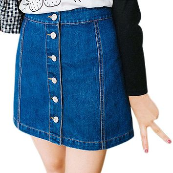 Simple Fashion Summer Women Sexy Denim Skirts High Waist Front Single-breasted Vintage Ladies Girls Pencil Jeans Skirt J