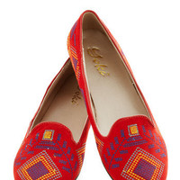 Stitch a Ride Flat in Red | Mod Retro Vintage Flats | ModCloth.com