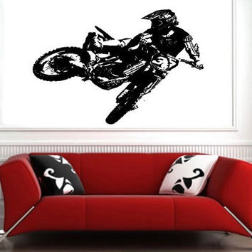 Motocross Dirt Bike Wall Decal Sticker Boys Room Nursery Idea Kid Decor Wall Decal Art Vinyl Sticker S6428