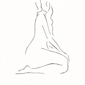 Art for bedroom. Subtle line art nude sketch. original B&W ink drawing.
