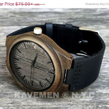 SALE Minimalist Engraved Wooden Watch with Genuine Leather, mens watch, groomsmen gift, wood watch Bamboo Watch, men's watch, Kavemen, Brook