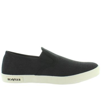 SeaVees Baja Standard Slip-On - Black Textured Linen Slip-On Sneaker