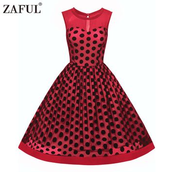 ZAFUL Plus Size 3XL Women Retro Vintage 50s60s Dress Rockabilly Swing Feminino Vestidos Polka Dot Pattern Print 2017 Party Dress