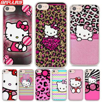BiNFUL Hot Sale Pink Hello kitty cat style hard clear Phone Cases Cover for Apple iPhone 7 7Plus 6s 6Plus 5 5s X 8 8Plus 4s