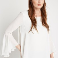 White Flair Bell Sleeve Top