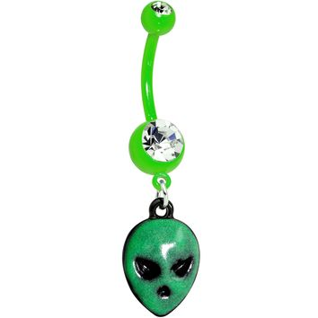 Clear Gem Green Glow in the Dark Grumpy Alien Dangle Belly Ring
