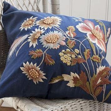 Blue Floral Embroidered Pillow Cover | Pottery Barn