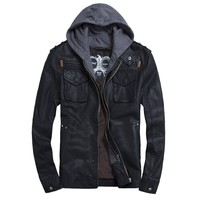 THOOO Men's PU Leather Hoodie Coat Bomber Motorcycle Jacket