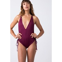 Playground Side Cinch One Piece - Bordeaux