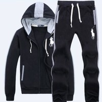POLO Ralph Lauren 2018 winter new men's trend sports and leisure hooded long-sleeved sportswear two-piece black