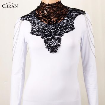 Chran Steampunk Lace Black Bib Detachable Collar Necklace Sexy Chain Shoulder Necklace Tattoo T-shirt Jewelry CRBJ702