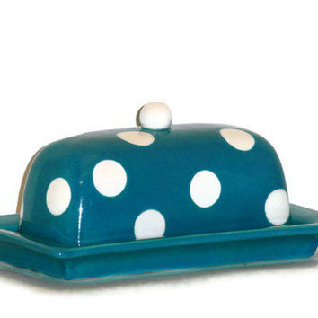 Ceramic Butter Dish in Retro Turquoise by BeautifullyPractical