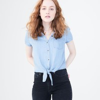 CHAMBRAY TIE-FRONT WOVEN TOP