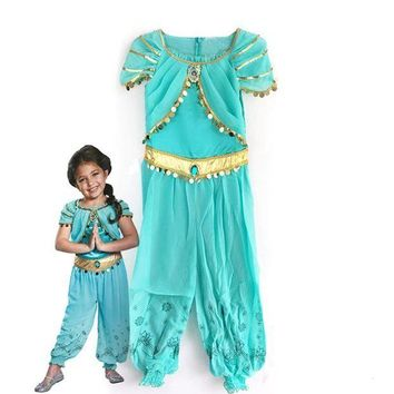 ESBON KTLPARTY halloween party cosplay kid children girl princess jasmine costume Aladdin's lamp clothes clothing
