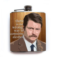 Ron Swanson Parks and Rec Flask There Is No Wrong Way to Consume Alcohol Funny Parks and Recreation Quote