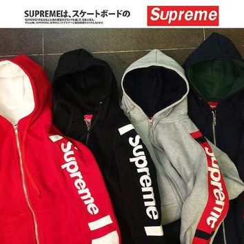 Supreme Unisex Casual Patchwork Hoodies Hip-hop Hats Jacket [11555860492] I