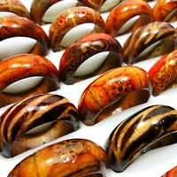 50Pcs Fashion Wooden Rings For Women Wood Jewelry