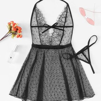 Deep-V Eyelash Lace Dress With Thong