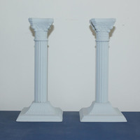 Grey Ornate French Provincial Candlestick Holders, candle holders, painted candle holders, upcycled candle holders, gift idea, grey decor