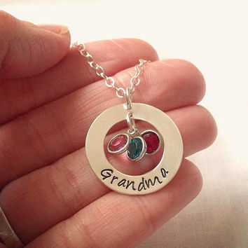 Grandma Birthstone Necklace ~ Sterling Silver, Hand Stamped, Personalized Jewelry, Washer Necklace, Mother's Day Gift, Grandmother Jewelry