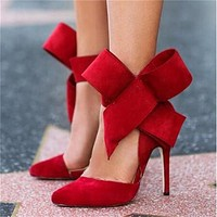 Women Big Bow Tie Pumps Butterfly Pointed Stiletto Shoes Woman High Heels Wedding Shoes