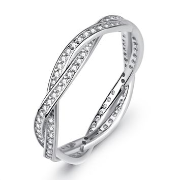 S925 Sterling Silver Jewelry Cross Ring Women Full Diamond Valentine Couple Ring
