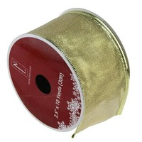 "Textured Gold Wired Christmas Craft Ribbon 2.5"" x 10 Yards"
