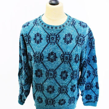 Vintage 1980s Crazy Pattern Grunge Victorian Wallpaper Sweater Jumper Medium