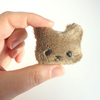 Brooches Bear or Cat in fabric plush kawaii